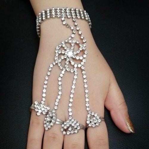 انگشتر و دستبند استیل نگین دار