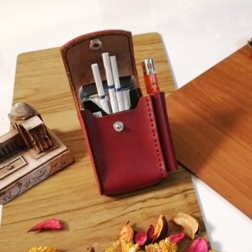 کیف سیگار و فندک (چرم طبیعی گاو و کاملا دست دوز)