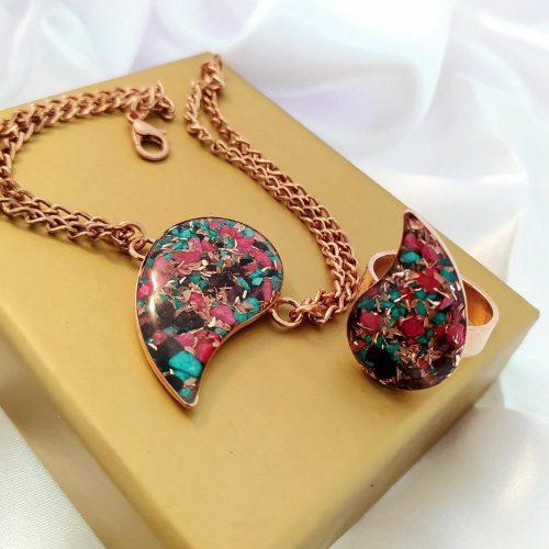 ست دستبند و انگشتر (سایز فری) مسی زنجیر دوبل، کارشده با خرده سنگ و خرده شیشه