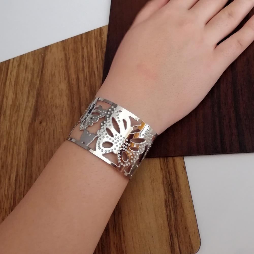 دستبند تک پوش پهن استیل رنگ ثابت