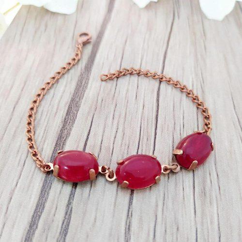 دستبند مسی سه سنگ قطاری