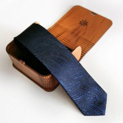 کراوات مردانه کتان-ابریشم همراه با جعبه چوبی