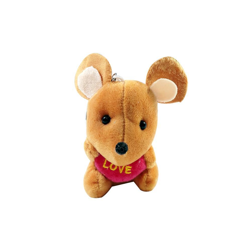 عروسک آویز موش قلب به دست رنگ خردلی