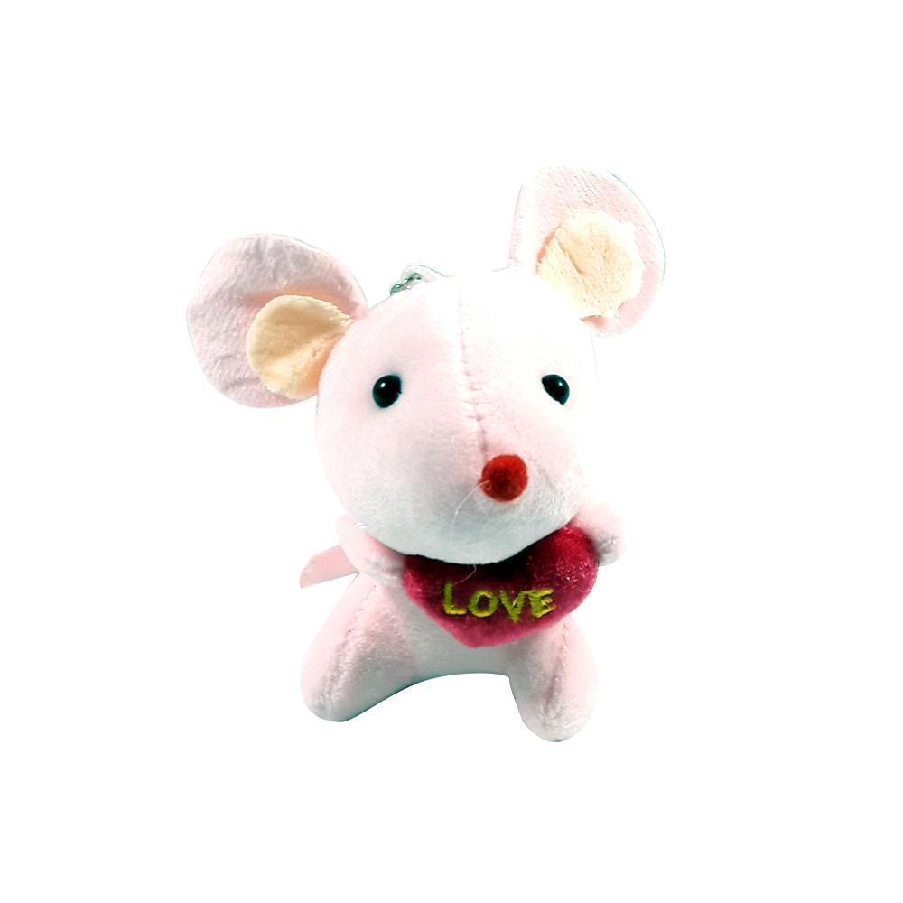 عروسک آویز موش قلب به دست رنگ صورتی
