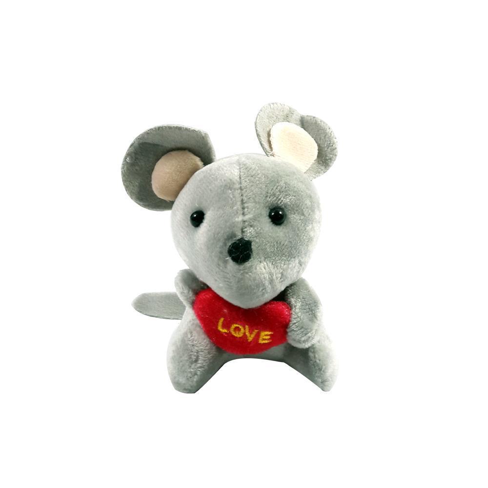 عروسک آویز موش قلب به دست رنگ طوسی