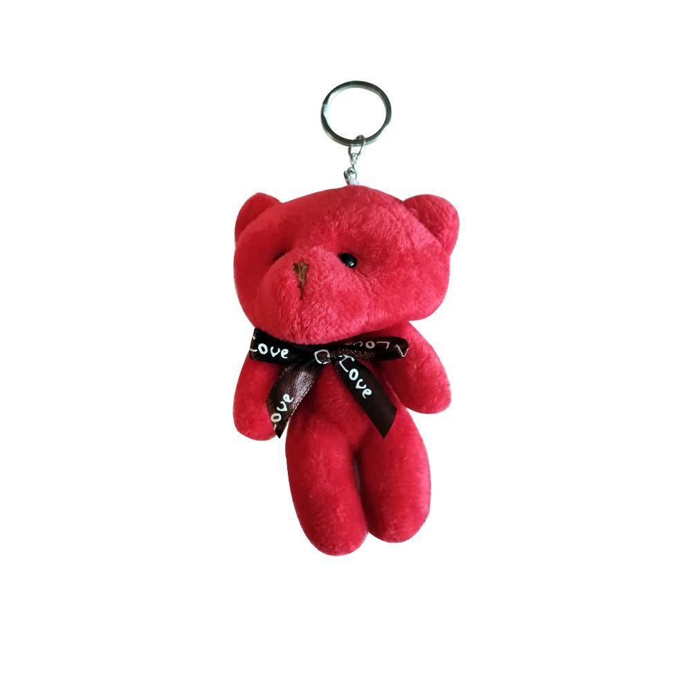 عروسک آویز خرس مدل کله گنده رنگ قرمز