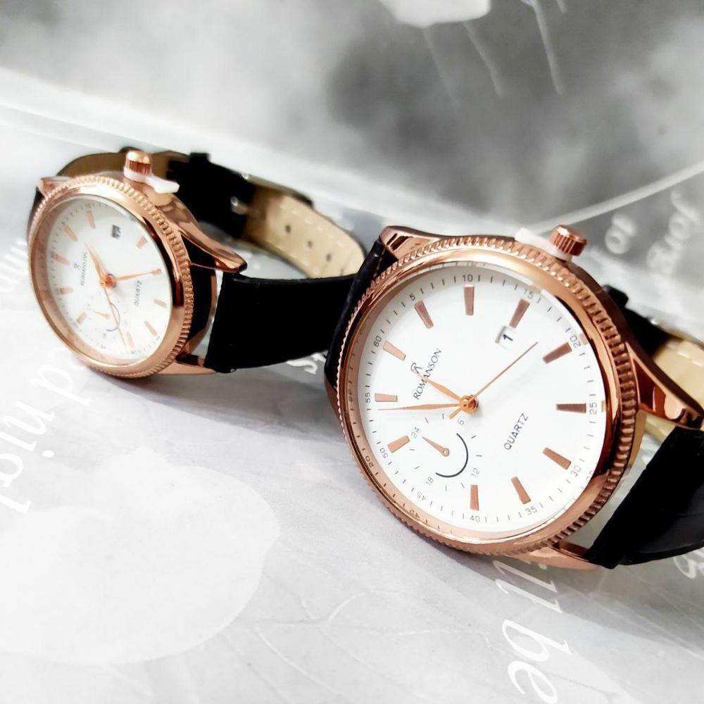 ست ساعت زنانه مردانه تقویم دار دستبند چرمی