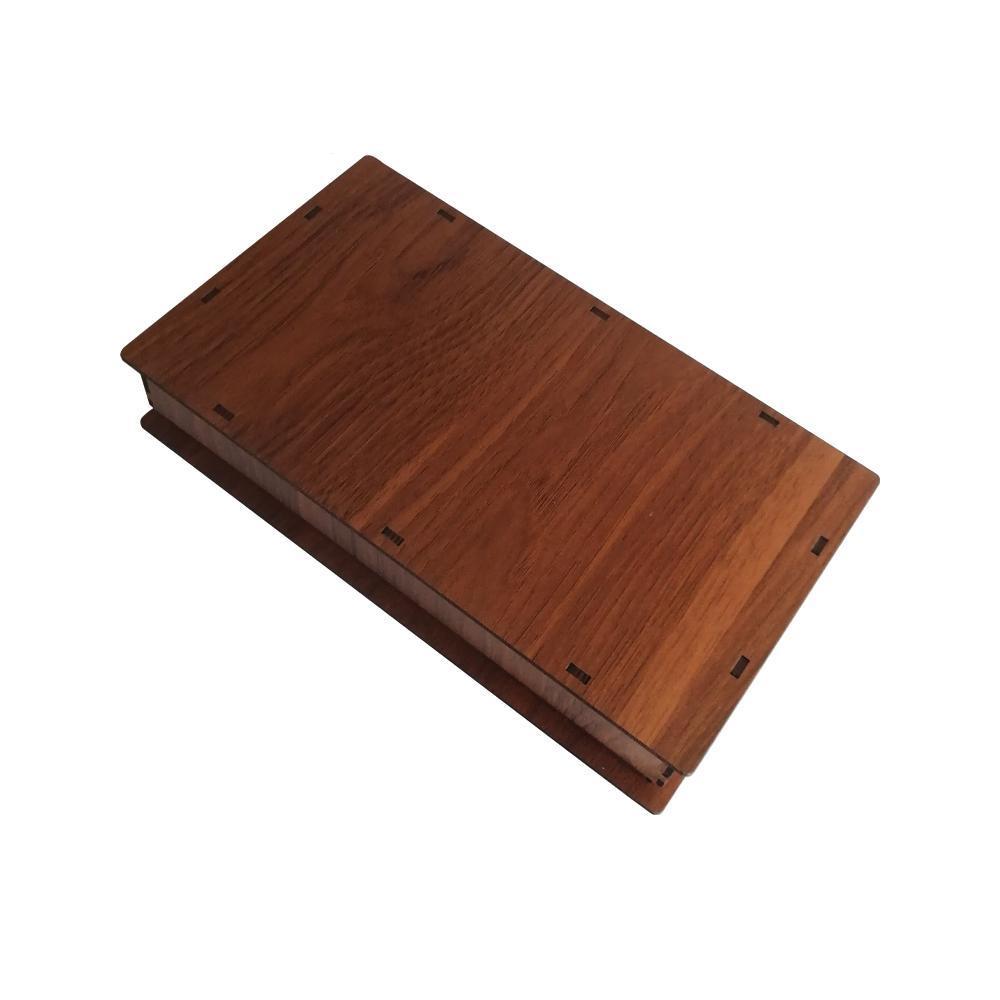 جعبه کادو چوبی مستطیل - قهوه ای روشن (دارای کفی مخملی)