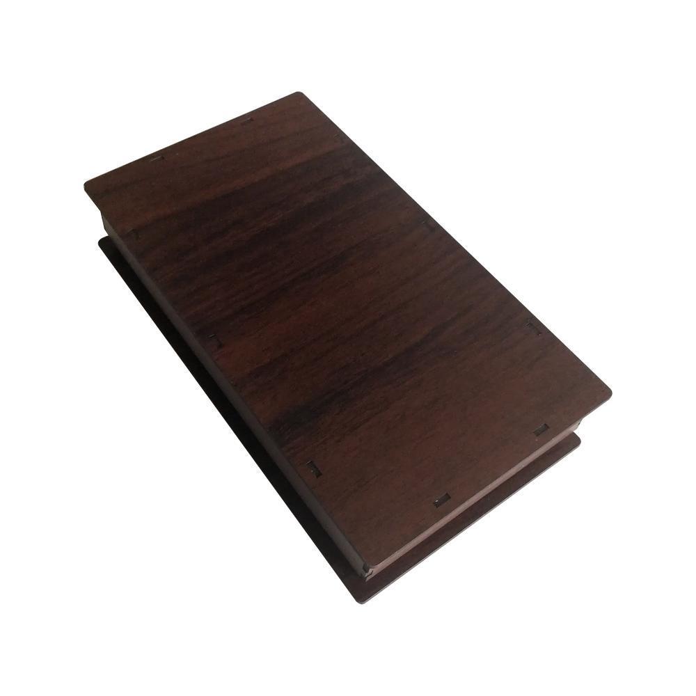 جعبه کادو چوبی مستطیل - قهوه ای تیره (دارای کفی مخملی)