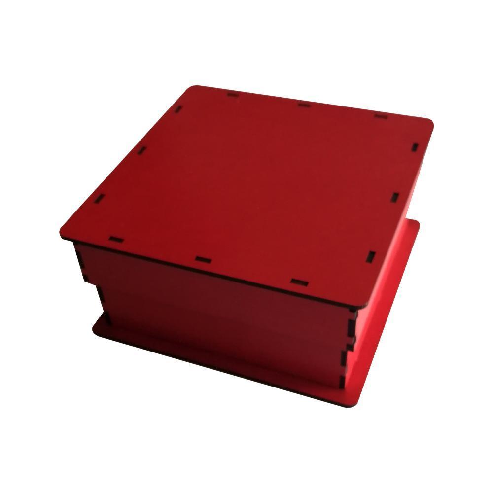 جعبه کادو چوبی مربع - قرمز (دارای کفی مخملی)