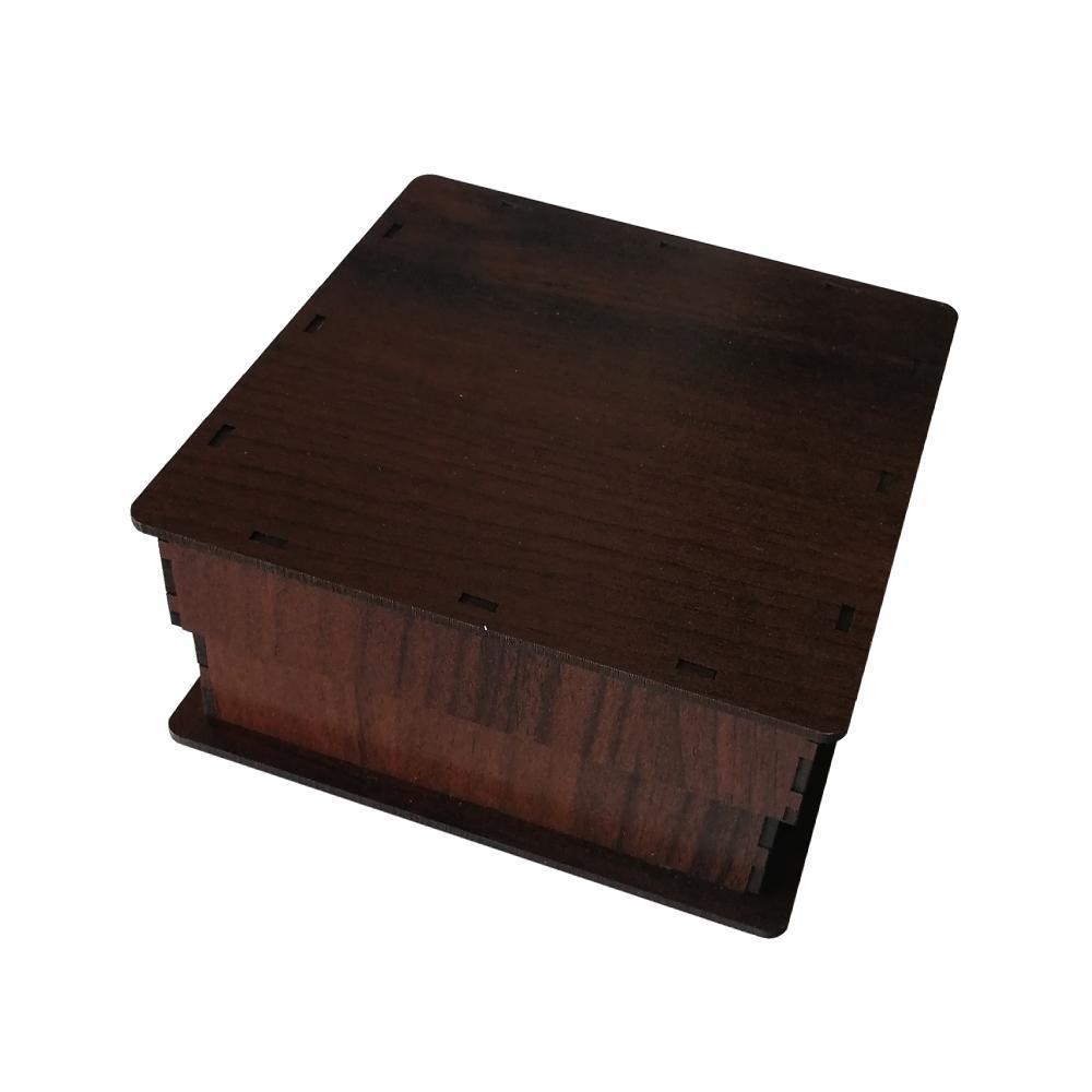 جعبه کادو چوبی مربع - قهوه ای تیره (دارای کفی مخملی)
