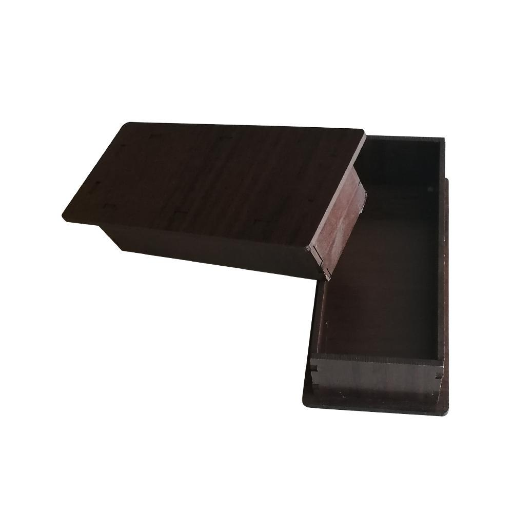 جعبه کادو چوبی (کف پارچه مخملی) مناسب برای بدلیجات و جا کلیدی - قهوه ای تیره