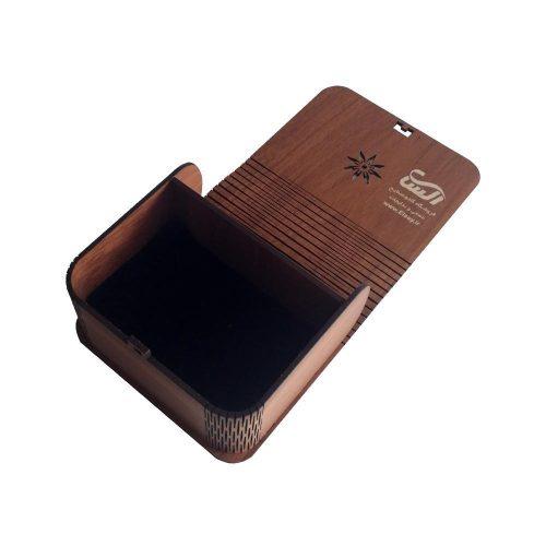 جعبه کادویی چوبی درب فنری (کفی مخملی) - قهوه ای روشن