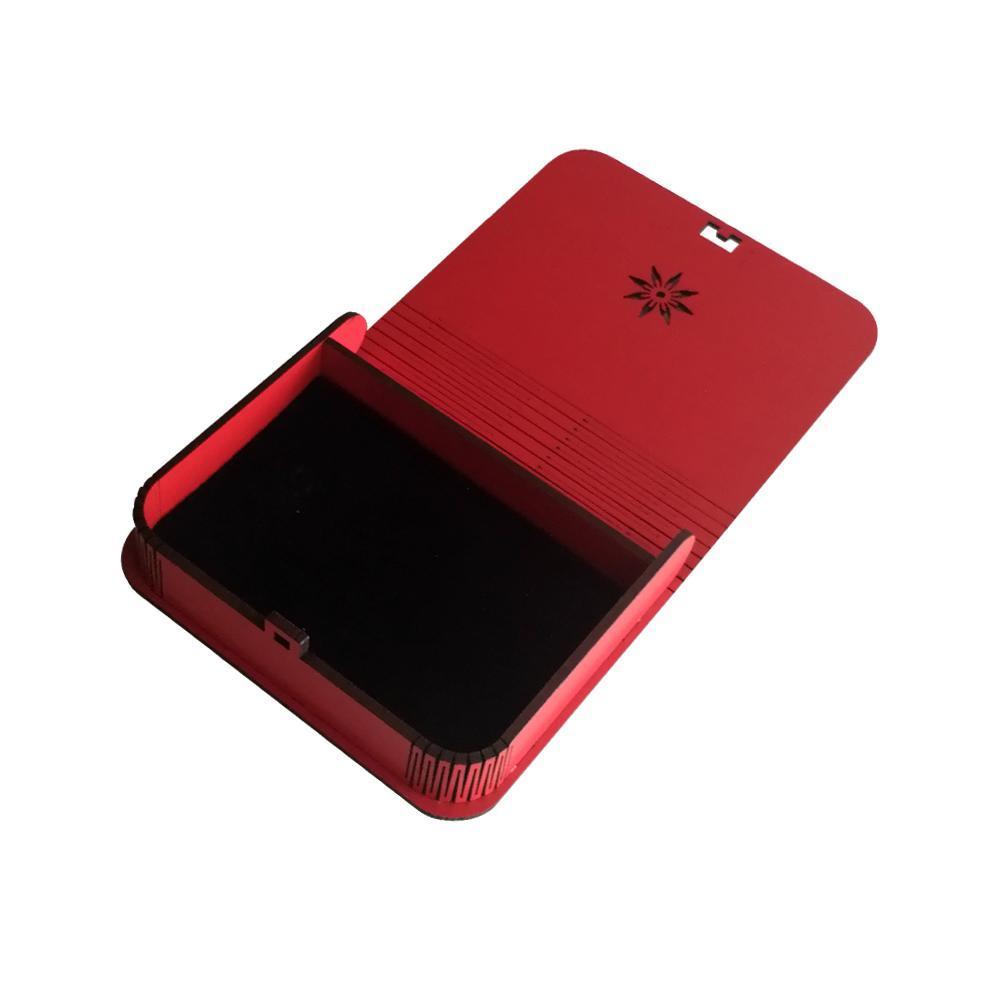 جعبه کادویی چوبی درب فنری (کفی مخملی) -رنگ قرمز