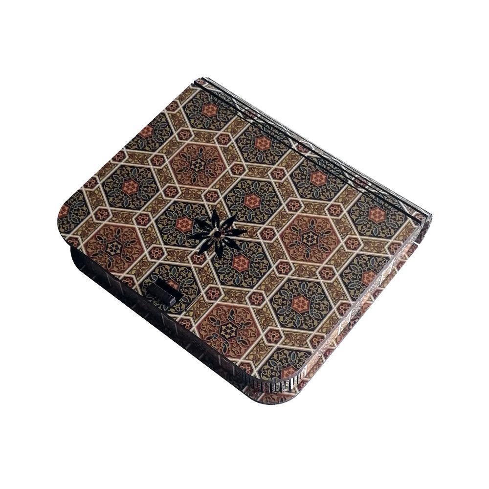 جعبه کادویی چوبی درب فنری (کفی مخملی) -طرح تذهیب