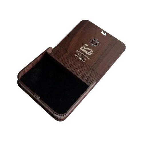 جعبه کادویی چوبی درب فنری (کفی مخملی) - قهوه ای تیره