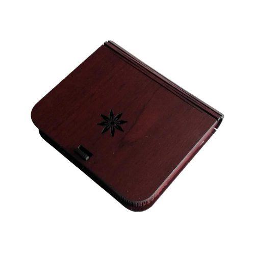 جعبه کادویی چوبی درب فنری (کفی مخملی) - زرشکی