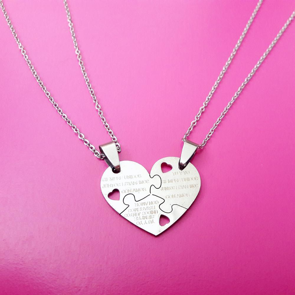 پلاک استیل جفتی قلب پازلی رنگ ثابت با دو زنجیر استیل دیپلمات
