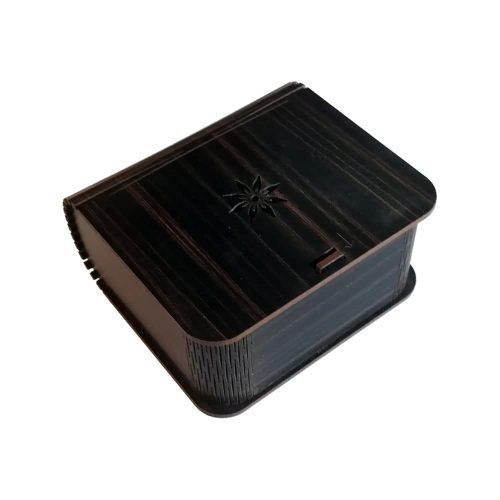 جعبه کادویی چوبی درب فنری (کفی مخملی) - قهوه ای سوخته