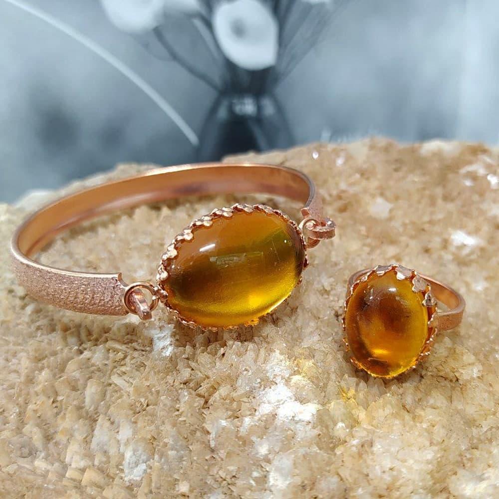 ست دستبند و انگشتر زنانه (مس خالص با خواص درمانی)
