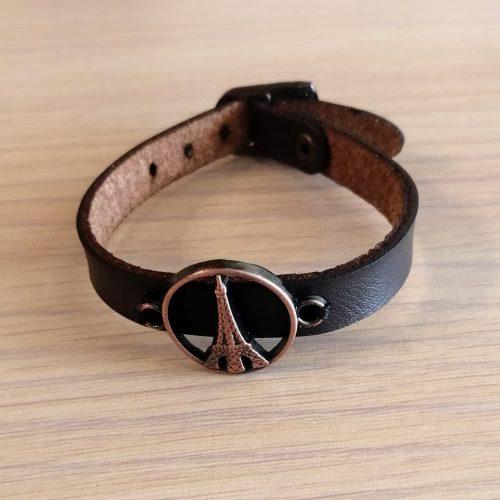 دستبند چرمی پلاک طرح مس