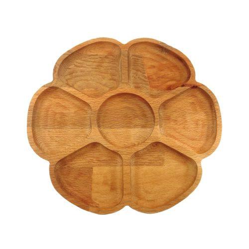 اردو خوری چوبی مدل رز (گل شش برگ)